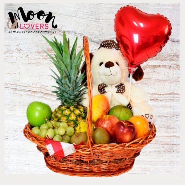 canasta de frutas con peluche
